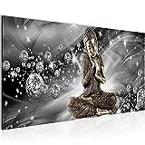 Bilder Buddha Feng Shui Wandbild 100 x 40 cm Vlies - Leinwand Bild XXL Format Wandbilder Wohnzimmer Wohnung Deko Kunstdrucke Grau 1 Teilig -100% MADE IN GERMANY - Fertig zum Aufhängen 505412c