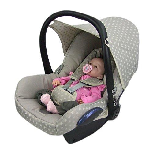 BAMBINIWELT Ersatzbezug für Maxi-Cosi CabrioFix 6-tlg., Bezug für Babyschale, Komplett-Set STERNE BEIGE *NEU*