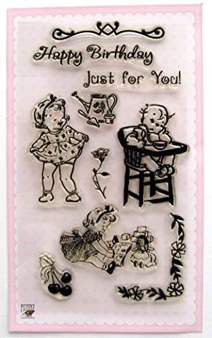 Laughing Baby Girl / Vintage Clear Stamps Set by