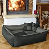 BedDog MAX QUATTRO 2in1 anthracite/grey M, 70x55 cm(27x21 inch) Bed for a dog M till XXXL, 6 colours to choose, pillow for a dog, sofa for a dog, basket for a dog