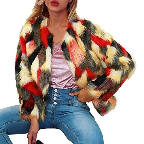 Giacca invernale, longra pelliccia sintetica mantella e poncho donna sfumatura di colore giacca corta cappotto a girocollo festa partito cappotto caldo maglieri outerwear giacche di pile