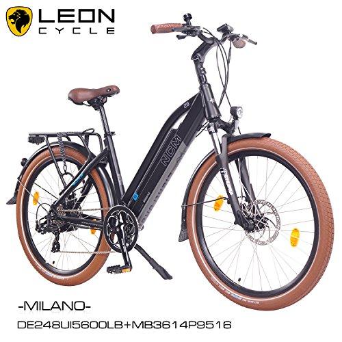 NCM Milano 2016,26pollici bicicletta elettrica uomo/donna Unisex Pedelec, E-Bike, Bicicletta da trekking, 36V 250W 14Ah Batteria agli ioni di litio con celle Panasonic, Nero Opaco