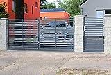 SO30 Einfahrtstor Hoftor Doppelflügeltor Gartentor Berlin 400 x 150 cm, mit Pforte 94 cm und Riegelset, Komplett-Set inklusive 2 Torflügeln, 1 Pforte, 3 Natursteinoptik-Pfosten, Beschlägen und 1 Riegelset. Gesamtbreite ist ca. 621 cm