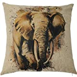 KateHome PHOTOSTUDIOS Animal estilo manta funda de almohada de León 18 x 18 cm cuadrado lino y algodón Blend cubierta de almohadas Home Décor diseño fundas de cojín para sofá, sofá (sin almohada)