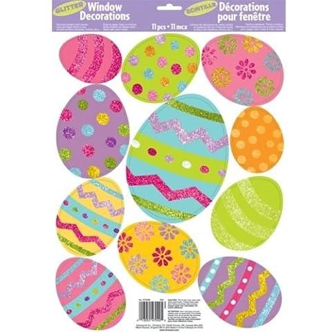 Amscan Easter Eggs Glitter Vinyl Window Sticker Decorations