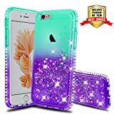 Atump Coque iPhone 6, Coque iPhone 6S avec Protecteur d'écran, Diamant Liquide Paillette Transparente 3D Silicone Gel Antichoc Kawaii Étui Fille Personnalisé pour iPhone 6 6S Green/Purple