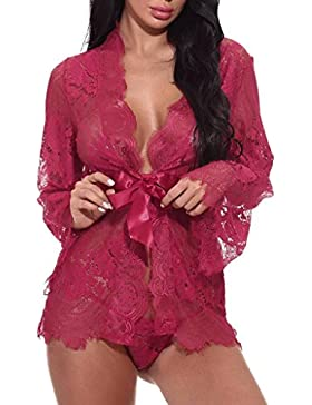 Lenfesh Pijamas Camisón Manga Larga Sexy Mujer Verano Ropa De Dormir De Encaje Translúcido Erotica Ropa Interior...