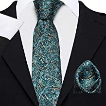 Axlon Men's Micro Polyester Paisley Necktie Set with Pocket Square and Lapel Pin (Cyan, Free Size)