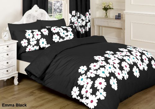 emma bettdecke ||jaaz Textile|| Emma schwarz Double Bedruckte Bettwäsche Bettbezug-Set (Bettbezug + 2Kissenbezügen)