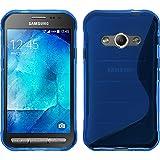PhoneNatic Case für Samsung Galaxy Xcover 3 Hülle Silikon blau S-Style + 2 Schutzfolien