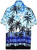 La Leela männer Hawaiian Hemd Kurzarm Button Down Kragen Fronttasche Beach Strand Hemd Manner Urlaub Casual Herren Aloha Blau_328 6XL Likre 999