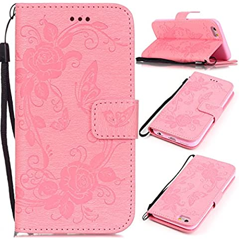 Funda para iphone 6s Plus, iphone 6 Plus Funda de PU cuero resistente,Ultra Slim Mariposa y Flor Colorido Diseño PU Cuero Folding Stand Flip Funda Carcasa Caso, Leather Case Wallet Protector Card Holders, SMART LEGEND Cubierta de la caja Funda protectora de cuero caso del soporte billetera Funda Carcasa con Stand Función y Imán Incorporado para Apple iphone 6s / 6 Plus 5.5 Zoll - Hot