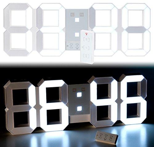 Lunartec Jumbo LED Uhr: Digitale XXL-LED-Tisch- & Wanduhr, 45 cm, dimmbar, Wecker, Fernbedien. (Digitaluhren)