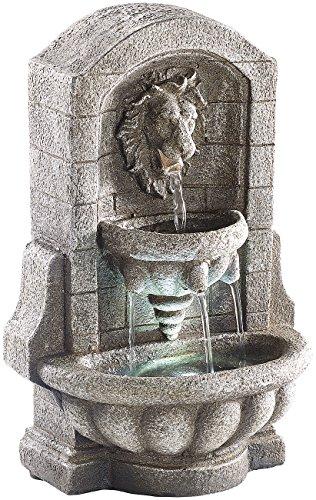 infactory Wasserspiel: Beleuchteter Zimmerbrunnen Löwenkopf mit LED und Pumpe (Zimmerbrunnen als Luftbefeuchter)