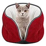 ODJOY-FAN Haustier Katzennest Kätzchen Katzen Bett Matte Super Weich Warm Zwinger Kennel Wildleder Warm Halb geschlossen Umgeben Hunde Haus 40 x 28 cm(Rot,1 PC)