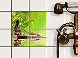 creatisto Fliesen-Aufkleber Folie Sticker selbstklebend | Fliesentattoo Dekosticker Küche renovieren Bad Küchen Ideen | 10x10 cm Erholung Wellness Buddha Zen - 4 Stück