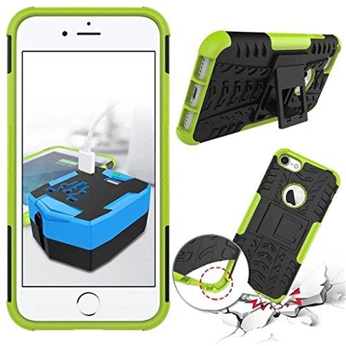 """iphone 7 Coque - MYTHOLLOGY avec Béquille Housse Double Couche Antichocs Protection Arrière Etui Coque pour iphone 7 (4.7"""") Noir Vert"""