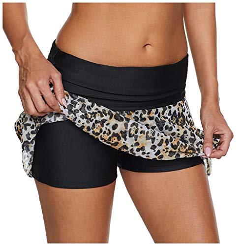 Anliyou Bademode High Waist Badehose Damen Mesh Colorblock 2n1 Badeshorts Baderöcke mit Leopardmuster Strandmode Mädchen Schwimmhose Badepants Hotpants mit Gummizug Bikini Trend 2020