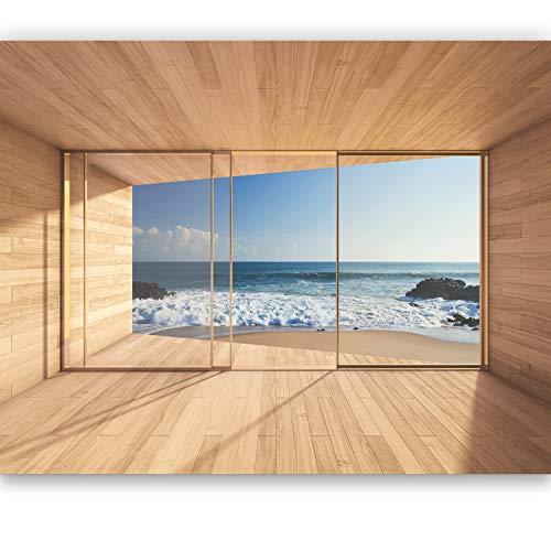 murimage Fototapete Meer 3D Fenster 366 x 254cm Strand Ausblick Tapete Wohnzimmer Holz Schlafzimmer inklusive Kleister