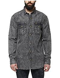 Urbano Fashion Men's Denim Charcoal Grey Solid Casual Shirt