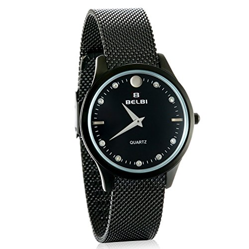 JewelryWe Partner-Armbanduhr Paar Uhren Analog Quarz 30M Wasserdicht schwarz Armbanduhr mit Edelstahl Milanese Mesh Armband, Herren Damen