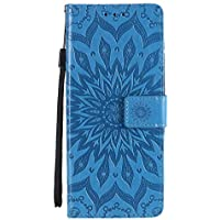 EYKT033081 - Funda tipo cartera de piel sintética para Moto G 5G Plus (poliuretano termoplástico), color azul