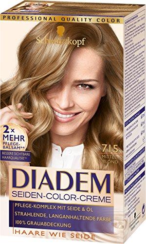 Schwarzkopf Diadem Seiden-Color-Creme, 715 Mittelblond Stufe 3, 3er Pack (3 x 180 ml) - Dunkel Haarfarbe Blond