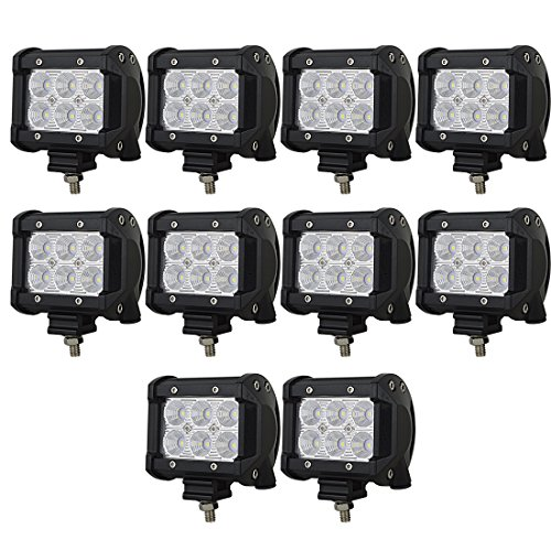 AUXTINGS 10 pièces 10,2 cm 18W Flood LED Lampe de travail Barre de conduite lampe 12V 24V 1440LM pour Off Road Cabine de voiture Bateau SUV Camion Voiture ATV Véhicules marin