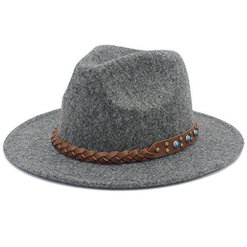 HUILIAN HATS Chapeau à la Mode, Chapeau Feminino Fedora Chapeu pour Hommes Gentleman Laine Chapeau Brim Jazz Chapeau Panama Haut