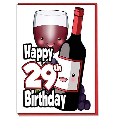 Vetro e bottiglia di vino rosso-29TH Birthday card-donna-da uomo-Daughter Son-Friend-marito moglie-Brother-Sister