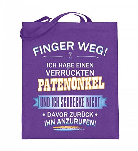 Hochwertiger Jutebeutel (mit langen Henkeln) - FINGER WEG - PATENONKEL Violett