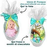 Uovo di Pasqua personalizzato con foto , Ovetti di Cioccolata , frase di Auguri . Idea Regalo per la Santa Pasqua