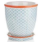 Nicola Spring Porzellan Blumentopf mit Tropfschale in Blau/Orange Print - Durchmesser 203mm