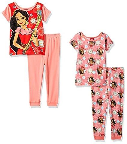Disney Little Girls' Elena 4-Piece Cotton Pajama Set, Coral, 4T