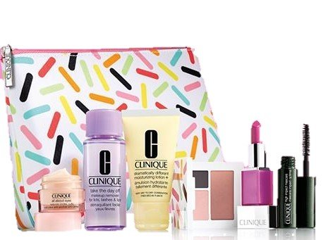 Clinique Oh So Sweet Gift Set Includes All About Eyes 7ml, Take The Day Off Makeup Remover for Lids, Lashes and Lips 50ml, Dramatically Different Moisturizing Lotion+ 30ml, All About Shadow [Uptown Downtown] Duo 1g + Blushing Blush Powder Blush 1.8g, Clinique Pop Glaze™ Sheer Lip Colour + Primer in Sprinkle Pop 2.3g & High Impact Mascara in Black