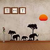 YSNMM Pegatinas De ParedBosque Sol Pradera Selva Elefantes Árbol Genealógico Habitaciones Infantiles Decoración Animal Salvaje Tatuajes De Pared PVC Arte Mural