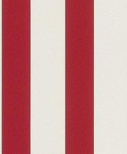 Vliestapete Streifen Gestreift weiß rot Tapete Rasch Prego