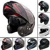 Leopard leo-888grafiche Dvs Flip Up Front casco da moto casco con doppia visiera (rosso/grigio/nero m)