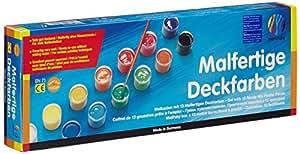 Nerchau 289713 - Malfertige Deckfarben, abwaschbar, für Papier, Holz, Keramik und Stein, 13 Farben, 18 ml