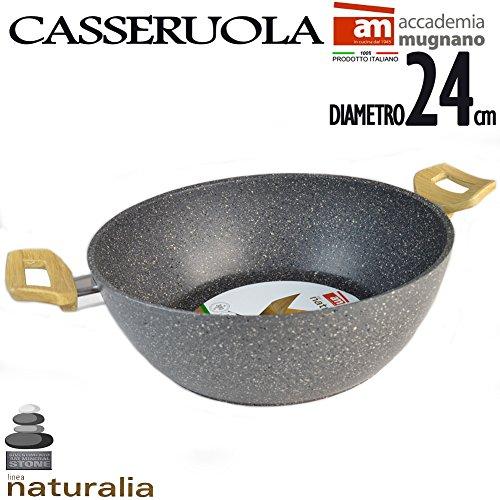 Casseruola in pietra antiaderente 24 cm 2 manici bakelite effetto legno linea naturalia accademia mugnano