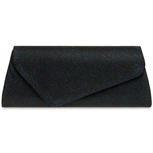 CASPAR TA394 Damen elegante Glitzer Stoff Baguette Clutch Tasche / Abendtasche mit langer Kette, Farbe:dunkelblau;Größe:One Size