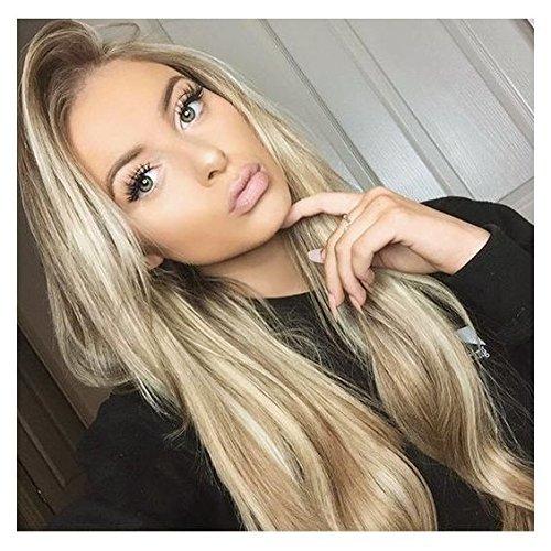 Vebonnie 56 cm Perücken für weiße Frauen - Blonde Straight Perücken Ombre Blonde Synthetische Haarspitze Front Perücken mit hellbraunen Wurzeln Natürlich weiches Haar Best Günstige Lange Perücken uk 22 Zoll (Straight 22 Zoll)