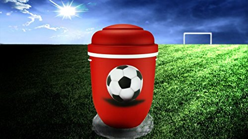 The Coffin Company Biologisch abbaubar Verbrennung Asche Urne-Erwachsene Größe-Fußball Design-Rot & Weiß