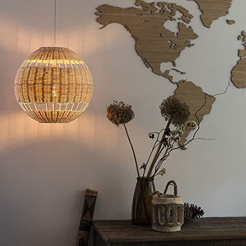 QAZQA Art Deco Rattan Hängelampe ländlich - Rattan/Innenbeleuchtung/Wohnzimmerlampe/Schlafzimmer/Küche/Bamboo Rund LED geeignet E27 Max. 1 x 40 Watt