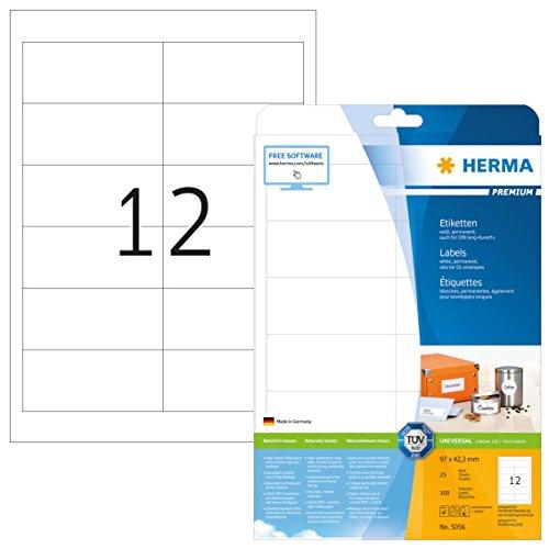 Herma 5056 Universal Etiketten (97 x 42,3 mm) weiß, 300 Aufkleber, 25 Blatt DIN A4 Premium Papier matt, bedruckbar, selbstklebend
