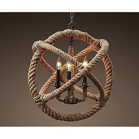 MSAJ-Cafetería bar colgante de la cuerda cuerdas hierro forjado araña europea circular hierro forjado araña país ropa tienda , 3 head diameter