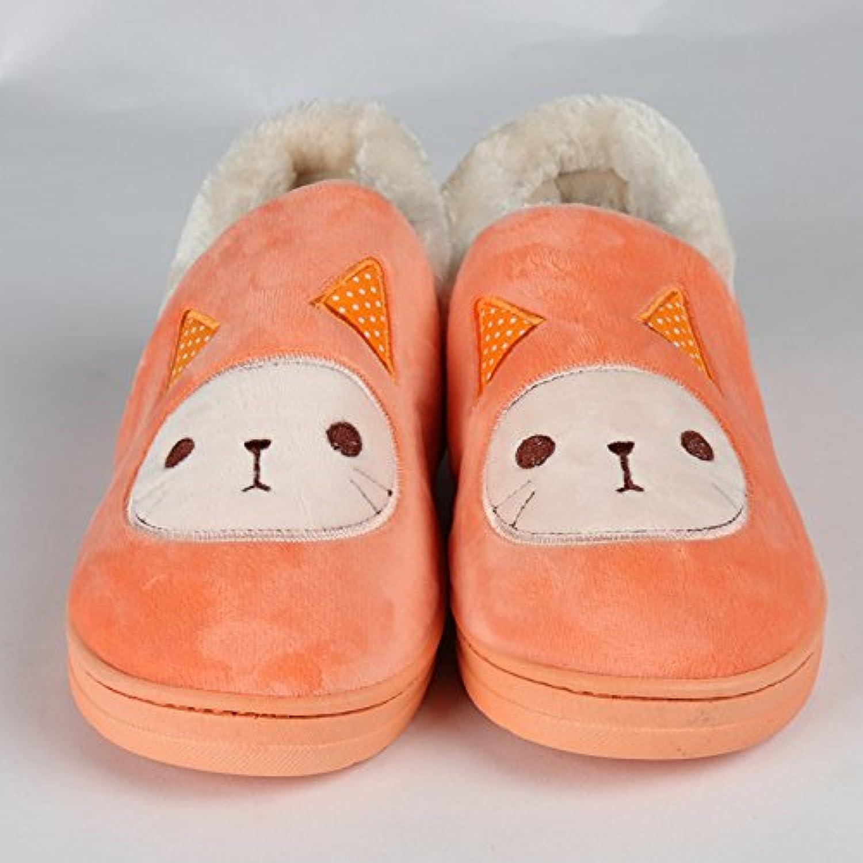 Y-Hui Super Soft Zapatillas casa piso caliente amantes zapatos zapatillas de algodón,44,Naranja Rojo
