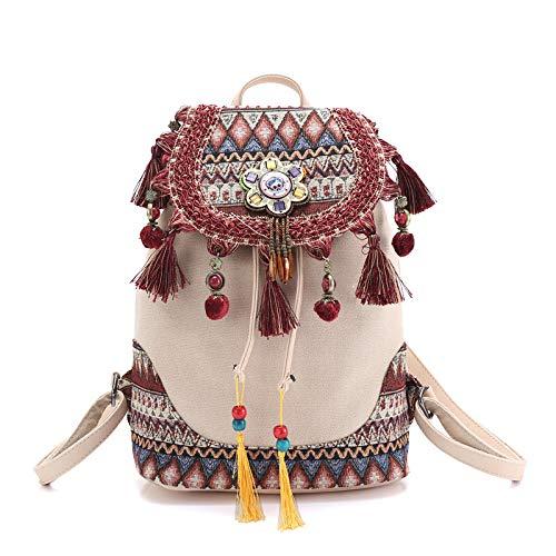 Mochila para Las Mujeres Estilo Bohemio Hippie Boho Vintage señoras Lona Borla Bolso Hombro algodón Tela Bolsa Bolsas étnicas Mochilas knapsack