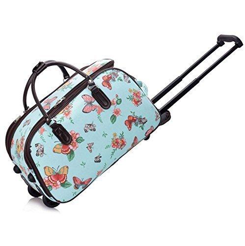 Ladies Travel Holdall Bags Hand Luggage Womens Butterfly Weekend Wheeled Trolley Handbag (Blue Butterfly S4) (Bag Travel Wheeled)