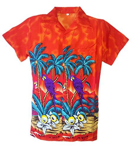 SAITARK--Camisa-hawaiana-para-hombre-estampado-veraniego-con-papagayos-Arancione-S